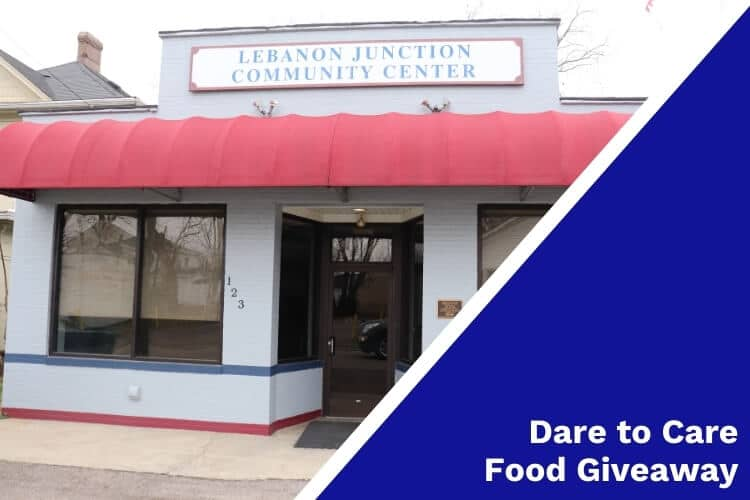 Lebanon Junction Community Center with 'Dare to Care Food Giveaway' text on image sidebar